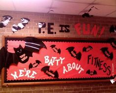 """We're Batty About Fitness"" is a spooky Halloween bulletin board display that could be used for other subjects as well."