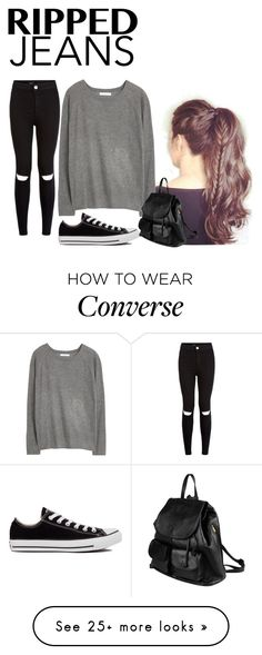 """#rippedjeans"" by popcoorns on Polyvore featuring MANGO, Converse, PARENTESI and rippedjeans"