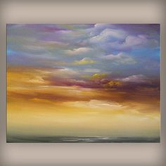 art ORIGINAL landscape painting seascape beach cloud by mattsart