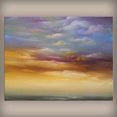 art ORIGINAL landscape painting seascape beach cloud by mattsart