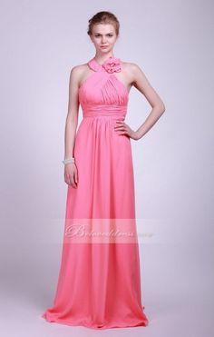 Pink Chiffon Bridesmaid Dress With Halter - Bridesmaid Dresses - Beloveddress