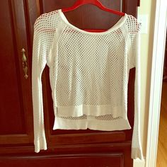 Crochet, holey shirt Off white crochet top. Barely worn too snug after washed Tops