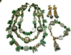 Vendome Cloisonne Jade Jewelry Set Designer by EclecticVintager