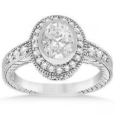 Oval Halo Engagement Ring Setting w/ Diamond Accents Palladium 0.36ct-Allurez.com