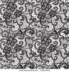 Spitze Schwarz nahtlose Muster mit Blumen auf weißem Hintergrund