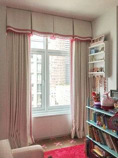 A box pleated valance with trims is a great combination with the drapery panels. Home Curtains, Custom Curtains, Curtains With Blinds, Valances, Box Pleat Valance, Cornice Box, Box Pleats, Drapery Designs, Drapery Ideas