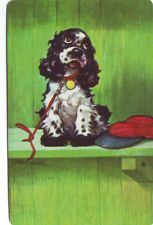 Butch Cocker Spaniel Dog On the Bench Genuine Vintage Swap Playing Card