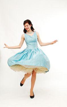Vintage 1950s Party Dress - 50s Bridesmaid Dress - Sky Blue