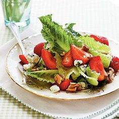 Romaine with Toasted Pecans and Pickled Strawberries | MyRecipes.com