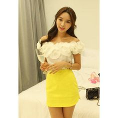 Sweet Style Bateau Neck Floral Decoration Two-Wear Types Short Sleeves Cotton Blend Women's Blouse, WHITE, ONE SIZE in Blouses   DressLily.com
