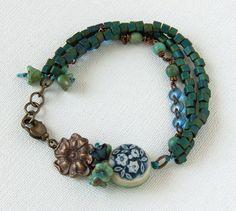 Earthy boho ceramic bracelet unique art bead by WinterBirdStudio