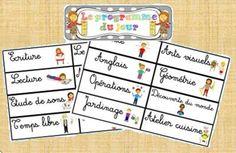 Etiquettes pour afficher le programme du jour Class Displays, Free Frames, Cycle 3, School Classroom, Grade 1, Etiquette, Back To School, Homeschool, Teacher