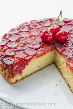 This Cherry Upside-Down Cake is sooooo soft! And you can use just about any kind of fruit! | NatashasKitchen.com