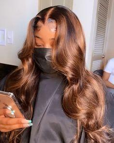 Baddie Hairstyles, Weave Hairstyles, Pretty Hairstyles, Brown Hairstyles, Frontal Hairstyles, Curly Hair Styles, Natural Hair Styles, Dyed Natural Hair, 100 Human Hair Wigs