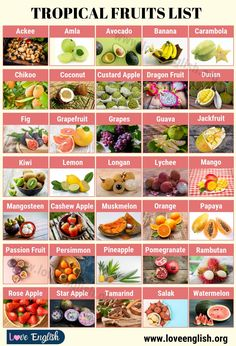 Tropical Fruits: Top 35 Delicious Tropical Fruits You Should Try - Lessons and Worksheets for ESL Teachers and English Students Fruits Name List, Fruit List, Exotic Fruit, Tropical Fruits, Fruits And Vegetables Names, Fruits Name In English, Cashew Apple, Food Vocabulary, English Vocabulary
