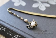 Vintage Teapot  Bookmark/ Letter Opener - Swaroski Pearls and Crystals. $13.00, via Etsy.