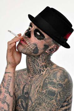 Zombie Boy aka DJ model Rick Genest has it all going on! Real Wild Child, Rick Genest, Boys Home, Sea To Shining Sea, Chicano Art, Cover Tattoo, Canadian Artists, Body Art Tattoos, Tatoos