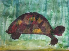 Черепаха. Бумага, восковые мелки, акварель. Рисунок 5-летнего ребенка.