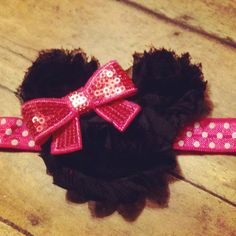 Shabby Minnie Mouse headband! Find me on Facebook!