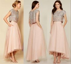 Two Pieces Unique Blush Bridesmaids Dresses For Cheap 2016 A Line Silver Sequins. - - Two Pieces Unique Blush Bridesmaids Dresses For Cheap 2016 A Line Silver Sequins Top High Low Beach Plus Size Chiffon Maid Of Honors Cheap Bridesmaids. 2016 Homecoming Dresses, Two Piece Homecoming Dress, Prom Dresses, Dresses 2016, Dresses Online, Flapper Dresses, Chiffon Dresses, Elegant Party Dresses, Nice Dresses