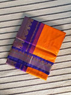Orange korvai kanchi Silk Cotton Saree with violet Pallu & Korvai Zari Border Silk Cotton Sarees, Bright Pink, Color Change, Orange, Dresses, Gowns, Dress, Day Dresses, Clothing