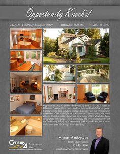 NOW #PENDING Cheers Stuart Anderson  4 bedroom 3.25 bath 3100+ sq ft home in Klahanie.   MLS # 1136490  http://24227se44thplace.c21.com/
