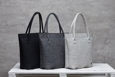 Merino wool felt bag dark grey oversized felt bag for woman