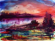 """blood red moment before night"" - Original Fine Art for Sale - © Mikko Tyllinen"