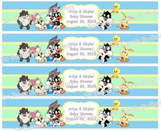 BABY LOONEY TUNES | Personalized Water Bottle Labels | Birthday or Baby Shower Favors | Paper Party Supplies Baby Shower Buffet, Baby Shower Favors, Baby Shower Cakes, Looney Tunes Party, Baby Looney Tunes, Abc Party, Party Themes, Party Ideas, Bunny Birthday