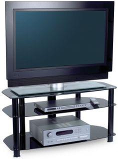 Alphason Sona Black Glass TV Unit - AVCR42-3-BLK
