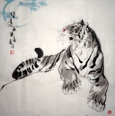 chinese tiger and blossom painting - Google Search
