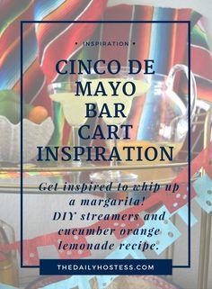 Inspired colorful cinco de mayo bar cart, diy picado crepe paper streamers, citrus lemonade recipe, cinco de mayo party, cinco de mayo party decor, bar cart