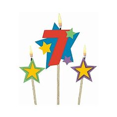 "Party Time Stars and Number 7 Celebration Candle on a Stick, Pack of 3, Multi , 7"" Wax:   Let him wish upon a star when he makes his birthday wish as he blows on this #7 Star Birthday candle."