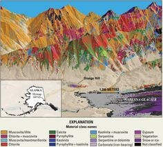 Image shows an Alaskan Mountain viewed through hyperspectral imaging -- Regional mineral classification map overlaying a digital elevation model of the Orange Hill area, Wrangell–St. Elias National Park and Preserve, Alaska. Colors represent the spectrally dominant minerals. Data collected at 6-meter spatial resolution.  (Public domain.)