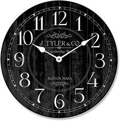 New Harbor Black Wall Clock, Available 8 Sizes, Most Sizes Ship Days, online shopping - Topusashoppingsites Clocks Back, Big Clocks, Black Clocks, Large Clock, Wall Clocks, Wall Clock Online, Thing 1, Gifts For Office, Digital Wall