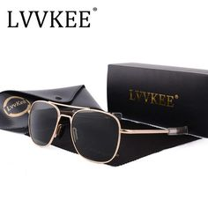 e81ffa4f21ef5 2018 NEW LVVKEE Brand men women driving lens Aviator sunglasses Aviation  Mirror Fashion G15 AO Polarized sun glasses