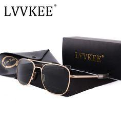 6d5dba17e4 2018 NEW LVVKEE Brand men women driving lens Aviator sunglasses Aviation  Mirror Fashion G15 AO Polarized sun glasses