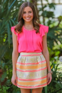 Brighten Up Blouse and lovely colorful summer skirt. NEON PINK + NEON ORANGE + BEIGE =