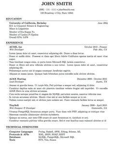 latex resume examples. Resume Example. Resume CV Cover Letter