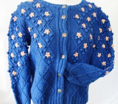 Hand Knitted TRACHTEN SWEATER, Cardigan, Royal Blue, Peach Flowers, Knitting Patterns by AlpineCountryLooks on Etsy