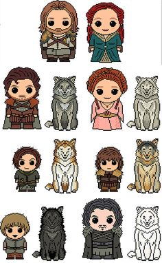 Game of Thrones: Stark Mega Pack (Ned, Catelyn, Robb, Jon Show, Sansa, Arya, Bran, Rickon PLUS 6 Direwolves) PDF Chart Pattern
