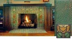 Arts and Crafts fireplace with Motawi Tiles.