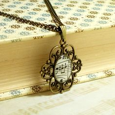 Vintage 1927 Music Note Necklace by BrassAndChain on Etsy, $16.00