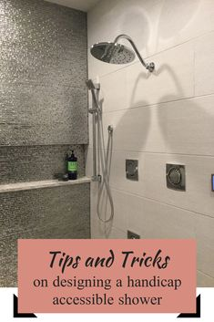 Gorgeous unique shower wall, perfect for your home. Learn the tips and tricks o… Gorgeous unique shower wall, perfect for your home. Learn the tips and tricks on how to design a handicap accessible shower that is stylish and functional Handicap Bathroom, Small Bathroom, Master Bathroom, Design Bathroom, Bathroom Ideas, Bathroom Remodeling, Bathroom Makeovers, Restroom Ideas, Restroom Remodel