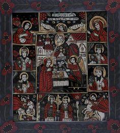 Icoana pictata pe sticla Praznicar cu Buna Vestire Religious Icons, Religious Art, Christian Paintings, Ikon, Nativity, Medieval, Glass, Artwork, Sf