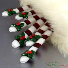 Christmas Swizzle Sticks Glass Holly Design Red White Stripes-Set of 6