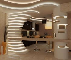 {E}vermotion - portfolio by samira rigips Ceiling Design Living Room, Kitchen Room Design, False Ceiling Design, Home Room Design, Modern Kitchen Design, Interior Design Kitchen, Living Room Designs, Interior Decorating, Modern Recessed Lighting