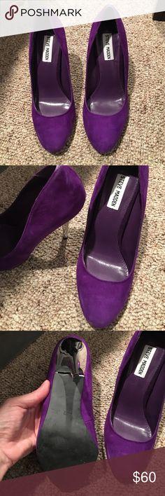 Steven Madden Purple and Chrome Heels! Stylish never worn purple chrome heels Steve Madden Shoes Heels