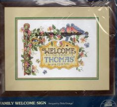 Family Welcome Sign Cross Stitch Kit Birds Honeysuckle Flower Personalize Sunset | eBay