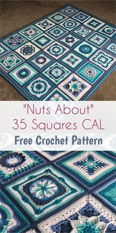 Crochet Designs Nuts About 35 Squares CAL [Free Crochet Pattern] Crochet Quilt, Crochet Blocks, Crochet Motif, Crochet Designs, Crochet Crafts, Crochet Yarn, Granny Square Crochet Pattern, Afghan Crochet Patterns, Crochet Squares